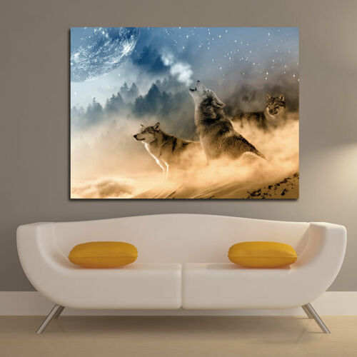 Wolf Howling /& The Moon Canvas Painting Wall Art Picture Home Decor Decoration