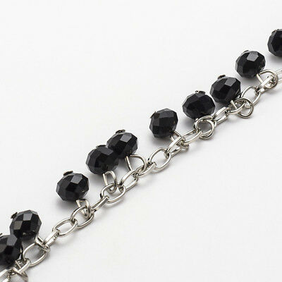 5pcs 1m Handmade Glass Faceted Abacus Beads Antique Bronze Iron Eyepins Chains