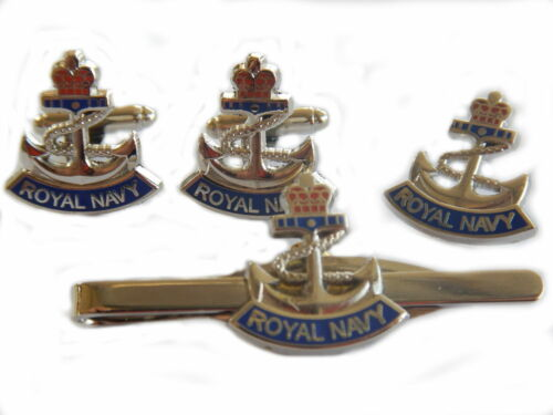 Royal Navy Anchor Cufflinks, Badge and Tie Clip Military Gift Set
