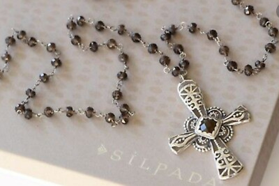 RARE Silpada Marquessa Sterling Silver and Smoky Quartz Cross Necklace # N2331
