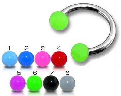 New Twisted Barbell Tragus Labret 1.2mm x 10mm with Spikes Balls Many Colours
