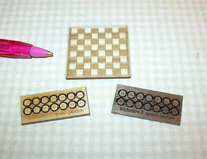 Miniature-Laser-Cut-Checker-Board-w-Checkers-DOLLHOUSE-Miniatures-1-12-Scale