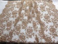 Large Dentelle Marron-beige Confection Vendue Au Mètre À Decor Floral-larg.135cm