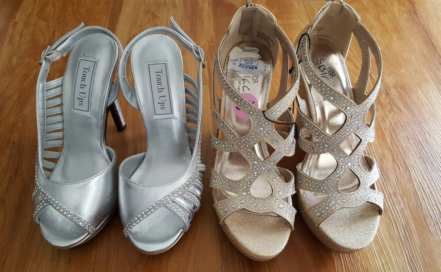 New Lot of 2 Women's Dress Prom Prom Prom Wedding Sandals (Touch Ups & Sbicca) Sz 5 & 5.5 f3c4c8