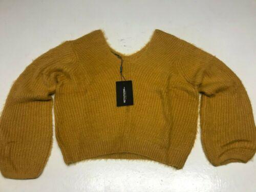 Jolie petite chose moutarde Off the épaule Fluffy Knit Jumper vendre 12