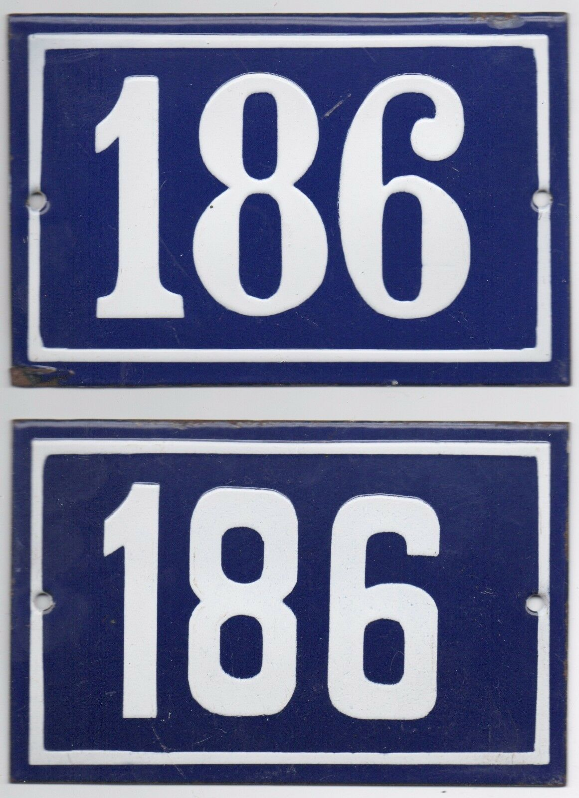 Old Blau French house number 186 door gate wall fence street sign plate plaque