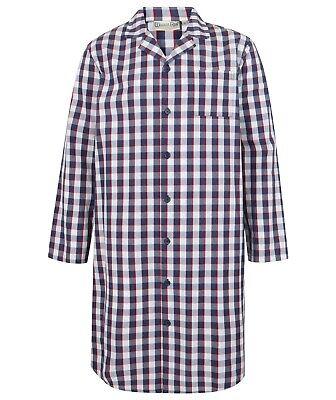 Men/'s Walker Reid Button Through Nightshirt Premium 100/% Woven Cotton WR3800.