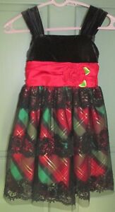 76302b307cc9 Bonnie Jean Girls Holiday Dress Black Red Green Plaid Velvet Lace ...