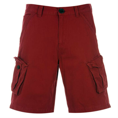 BNWT FIRETRAP Mens Coloured Denim Combat Shorts S-XL Cargo Black//Red Designer