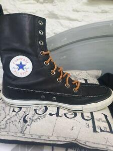 Converse-All-Star-Chuck-Taylor-High-Top-UK-9-pelle-nera-OTTIME-CONDIZIONI