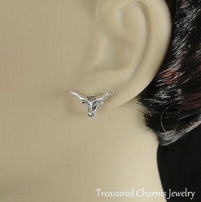 Silver Post Stud Earrings Bull Horns