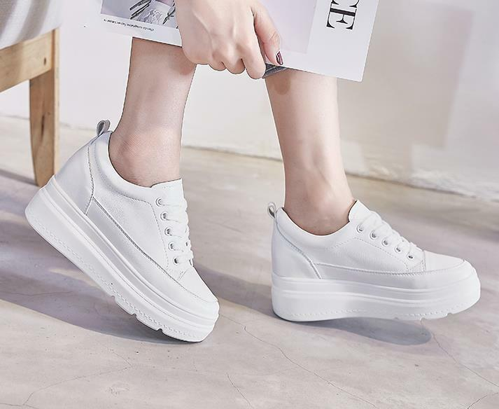 Women Hidden Wedge Heels Lace Up High Top Sports shoes Creepers White Sneakers