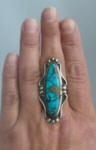 Navajo Indian Sterling Silver Crazy Horse Turquoise Gift Ring Yazzie Size 8.5
