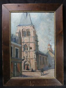 Olio-Firma-Raffigurante-Chiesa-di-Sensazione-1921-Yonne-Borgogna-Franca
