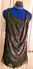 Access your inner DIva -Retro 'little black dress' size 12, drapes, sleeveless,