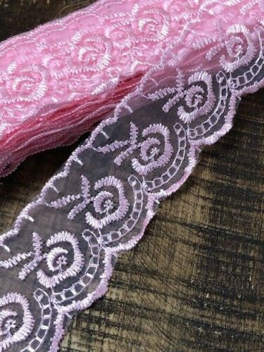 """laverslace Pretty Pink Embroidered Tulle Lace Trim 1.75/""""//4.5cm Baby Sewing"""