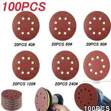 New Listing125mm Brushed Dry Sanding Paper S 100pc 5 Inch 8 Hole Back Velvet Disc Sandpaper