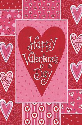 "Valentine's Patchwork House Flag by Custom Decor Valentine's Day Large 28"" x 40"""