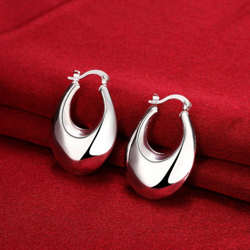 925Sterling Silver Jewelry Hollow Smooth Drop Woman Earrings Dangle EB711