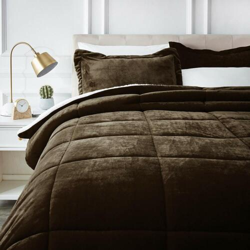 Micromink Sherpa Comforter Bed Set Chocolate Brown King Twin Size Bedding Decor
