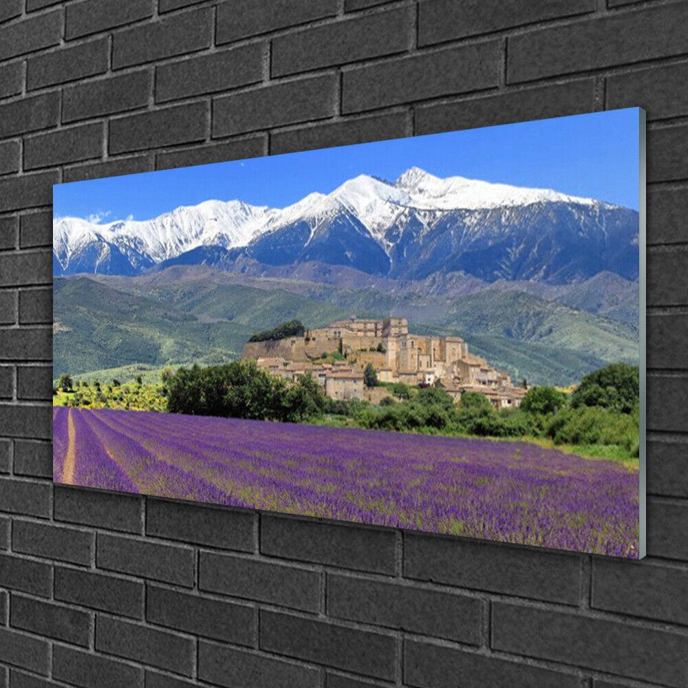 Wandbilder aus Plexiglas® 100x50 Acrylglasbild Wiese Blaumen Gebirge Landschaft