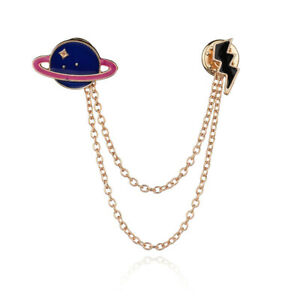 Universe-Planet-Collar-Brooch-Pin-Neck-Tip-Shirt-Blouse-Chain-Necklace