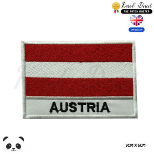 Austria-National-Flag-With-Name-Embroidered-Iron-On-Sew-On-Patch-Badge
