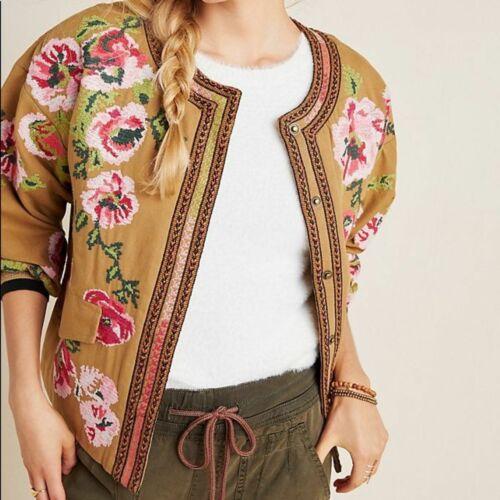 Anthropologie Needlepoint Embroidered Jacket