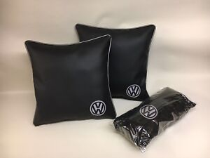 2-X-17Inch-Faux-Leather-Grey-VW-Embroidered-Cushions-amp-Inners-Matching-Fleece