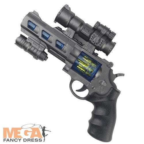 Space Cop Revolver Boys Fancy Dress Toy Alien Gun Kids Adults Costume Accessory