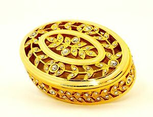 Ciel Collectables Oval Shape Jewelry Trinket Box with Swarovski Crystal
