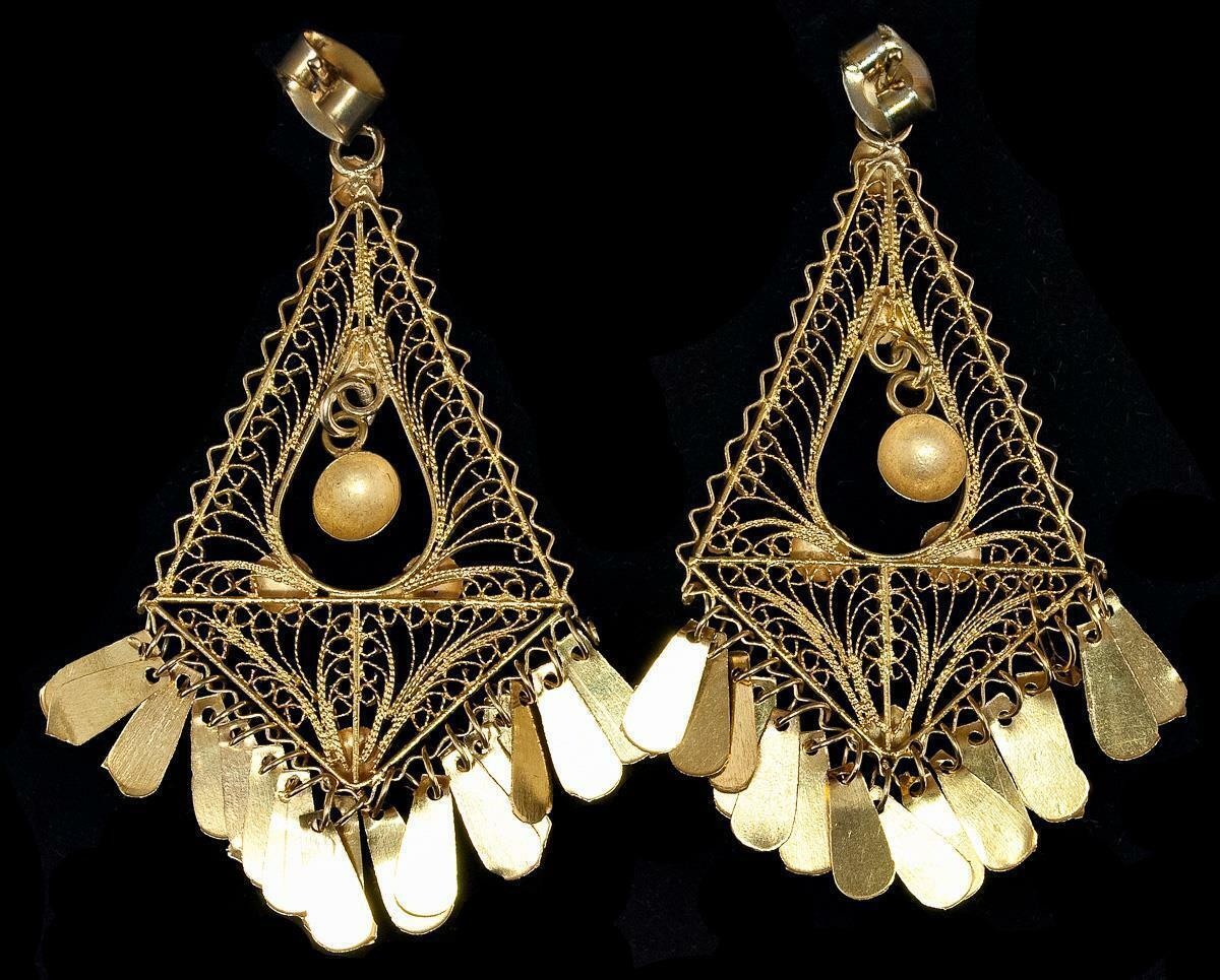 18kt Solid gold Dangling Delicate Mesh & Plates Post Earrings 1 3 4  Drop 6.23gr