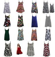 New Womens Cami Vest Sleeveless Swing Top Flared Strappy Long Printed Vest 8-26
