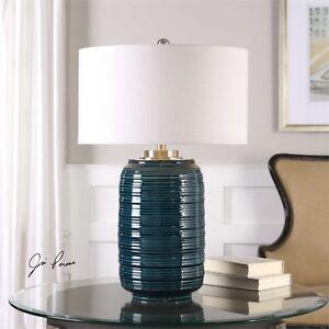 Designer Dark Teal Glaze Ceramic Table Lamp Linen Shade Brushed