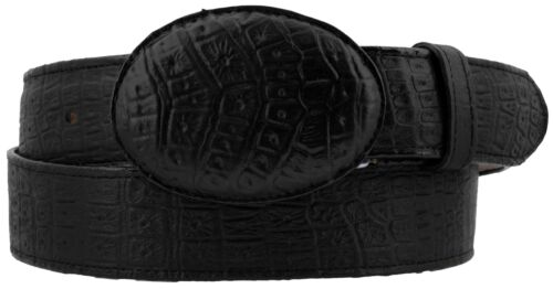 Mens Black Crocodile Belly Print Leather Cowboy Belt Rodeo Buckle Cinto Rancho
