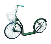 "SCOOTER Kick Foot Bike w Basket Hand Brake Racing Wheels  Amish Made  20"" GREEN"