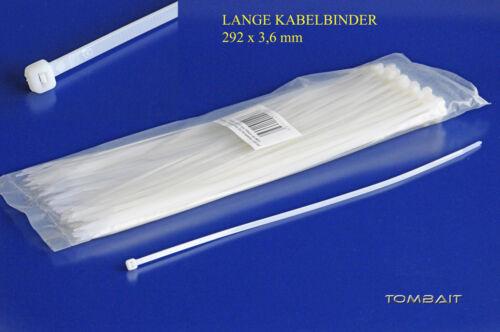 100 x Extra lange Profi Industrie Kabelbinder 300mm cable ties transparent b31v