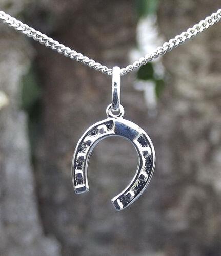 925 Silber Kette+Anhänger Hufeisen Pferd Pferde Reiten Glücksbringer Glück
