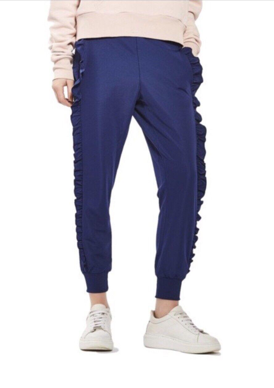 NEW Topshop Ruffle Cuffed Jogger Pants Sweatpants - Blau - 8US