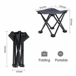 Non Slip 4 Leg Folding Camping Stool Chair Strong Hiking