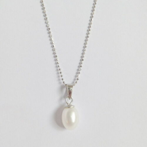 925 STERLING SILVER SIMPLE OVAL FRESHWATER CULTURED PEARL NECKLACE PENDANT 5.5CT
