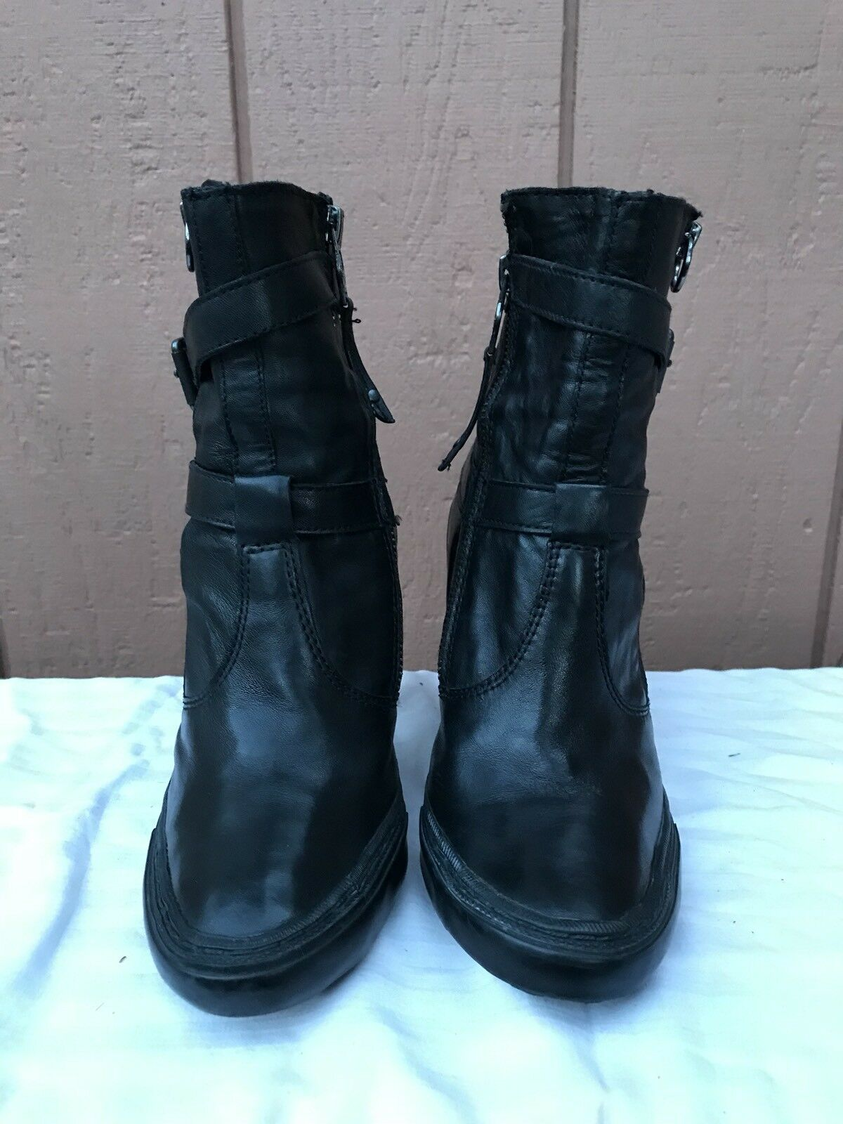 ASH PENNY Black Leather Ankle Boots US 8 Zippers Straps Buckles Heels
