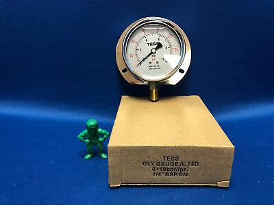 "Tess 75d Glycerin Fill Pressure Gauge 10bar 140 Psi 1/4"" Bsp Business & Industrial Bm Air Pressure Gauges"