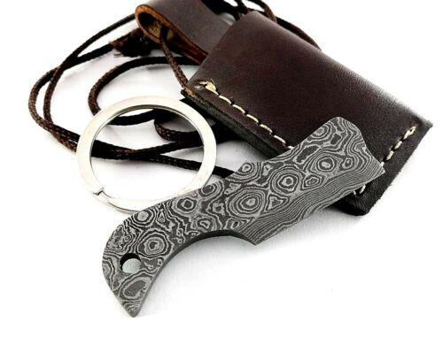 Hand crafted Damascus Steel Dog Tag Pendant Chain Keyring Necklace axe