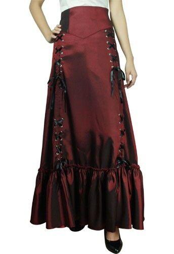 Voies Jupe Trois Bordeaux Rouge Renaissance Steampunk Gothique Victorien Lacet qRvwvZWO
