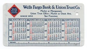 1926 Celluloid Wells Fargo Bank Pocket Calendar SF Map | eBay