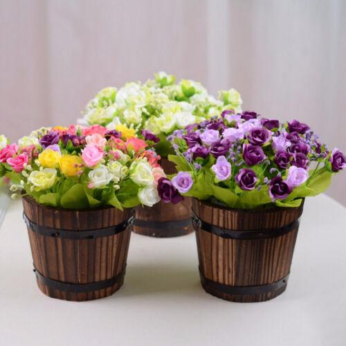 4Style Flower Planter Wooden Garden Treasure Round Barrel Outdoor Pot Home Decor