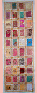 HAND-EMBROIDERED-ANTIQUE-PATCHES-WALL-RUNNER-TAPESTRY-THROW-FROM-INDIA