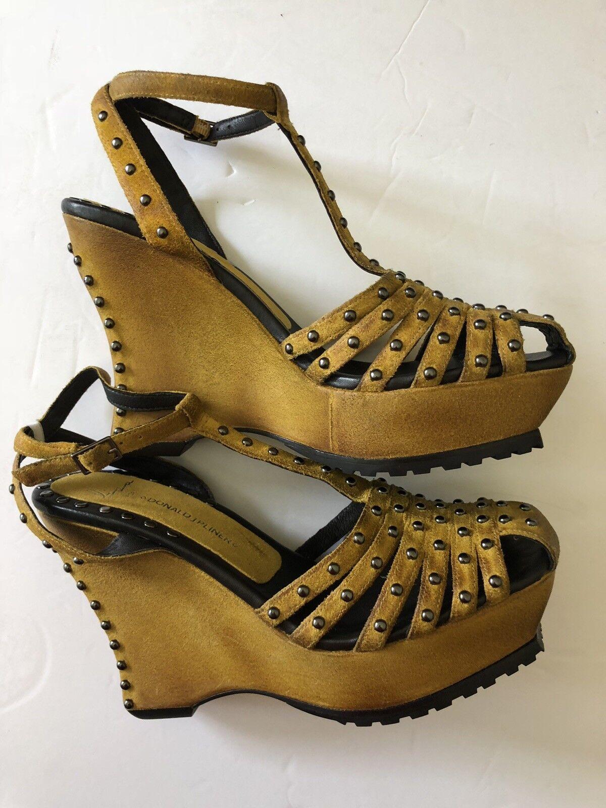 Negozio 2018 Lisa For Donald J Pliner Shiloh-ww Mustard bianca Wash Suede Suede Suede Wedge Sandals Sz 8  ultimi stili