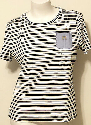 NWT WOMEN'S TOMMY HILFIGER SS STRIPED POCKET CREW NECK TEE LARGE MSRP $39.50 192114923020 | eBay